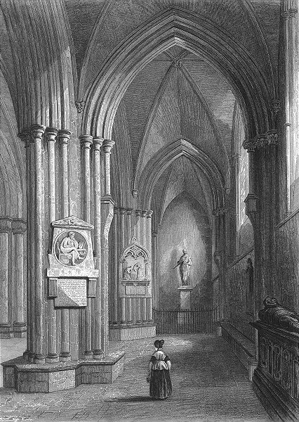 Associate Product SUSSEX. Chichester Cathedral North Aisle 1836 old antique print picture