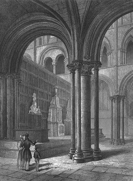 Associate Product SUSSEX. Chichester Cathedral Presbytery 1836 old antique vintage print picture