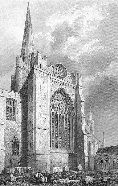 Associate Product SUSSEX. Chichester Cathedral south Transept 1860 old antique print picture