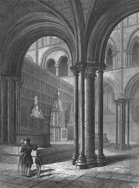 Associate Product SUSSEX. Chichester Cathedral Presbytery 1860 old antique vintage print picture