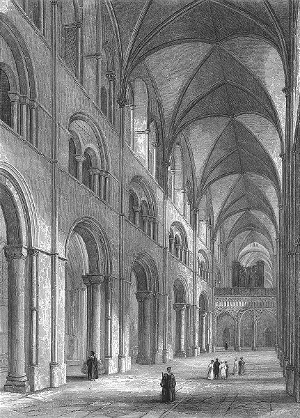 SUSSEX. Chichester Cathedral Nave 1860 old antique vintage print picture