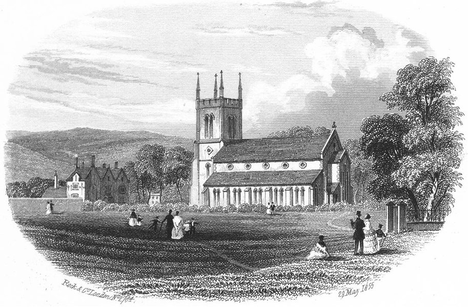 Associate Product SUSSEX. Trinity Church, Eastbourne. Rock 1860 old antique print picture