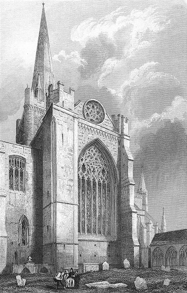 Associate Product SUSSEX. Chichester Cathedral south Transept 1836 old antique print picture