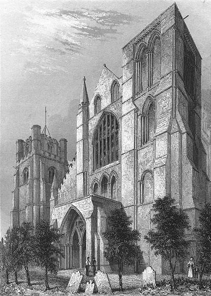 Associate Product SUSSEX. Chichester Cathedral Bell Tower 1851 old antique vintage print picture