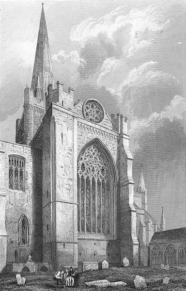 SUSSEX. Chichester Cathedral south Transept 1851 old antique print picture