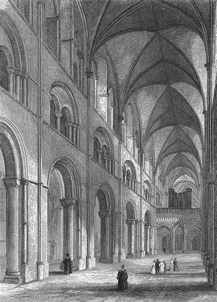 Associate Product SUSSEX. Chichester Cathedral Nave 1851 old antique vintage print picture