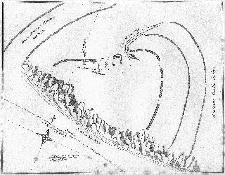 SUSSEX. Hastings Castle. Grose 1783 old antique vintage print picture