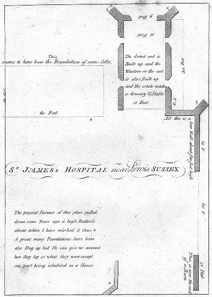 Associate Product SUSSEX. St Jamess Hospital Lewis. Grose 1783 old antique vintage print picture