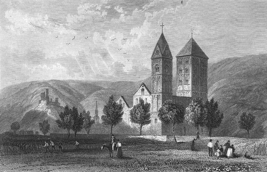 Associate Product GERMANY. St John's Church, Niederlahnstein  1830 old antique print picture