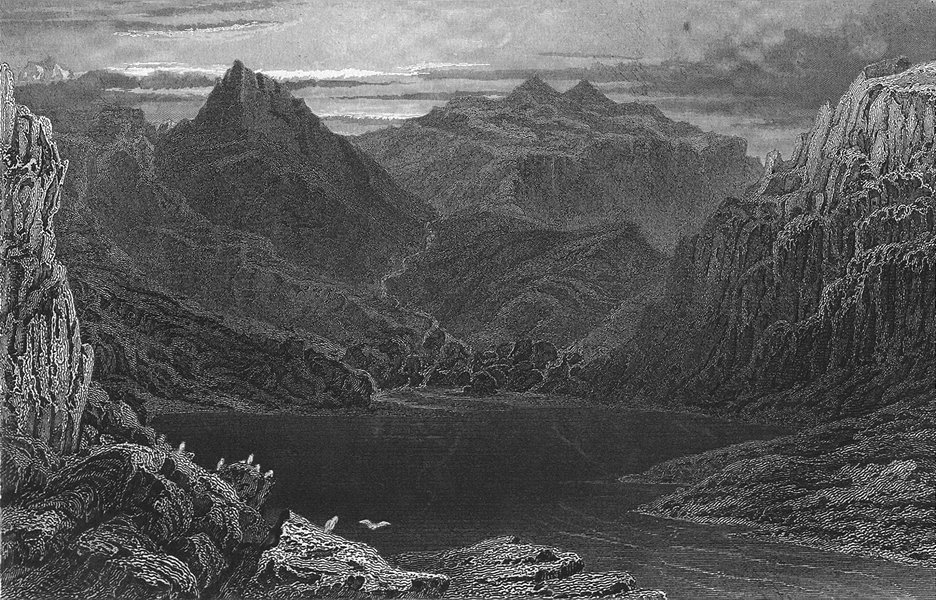 GERMANY. Origin Fore Rhine lake Toma  1830 old antique vintage print picture
