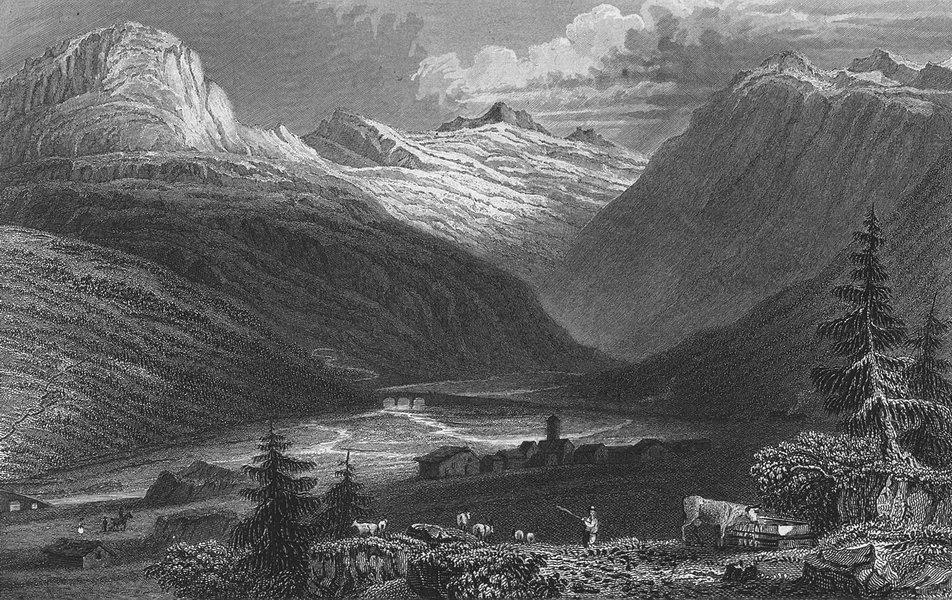Associate Product SWITZERLAND. Rheinwald Glacier. Germany. Tombleson 1830 old antique print