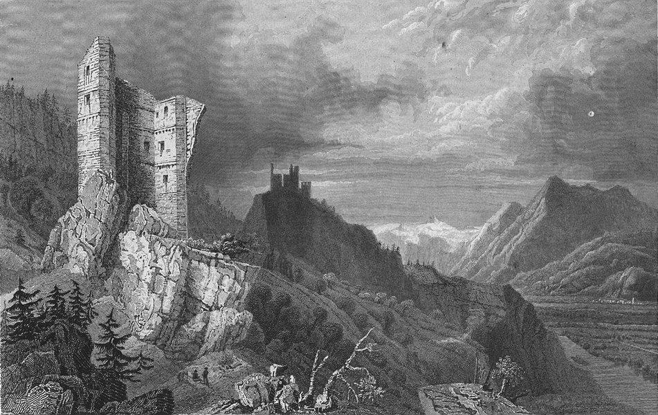Associate Product GERMANY. Ruins, Haldenstein Lichtenstein.  1830 old antique print picture