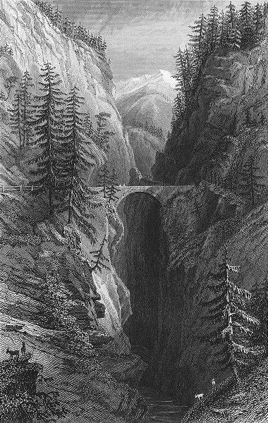 Associate Product VIA MALA. Middle bridge. Germany. Tombleson 1830 old antique print picture