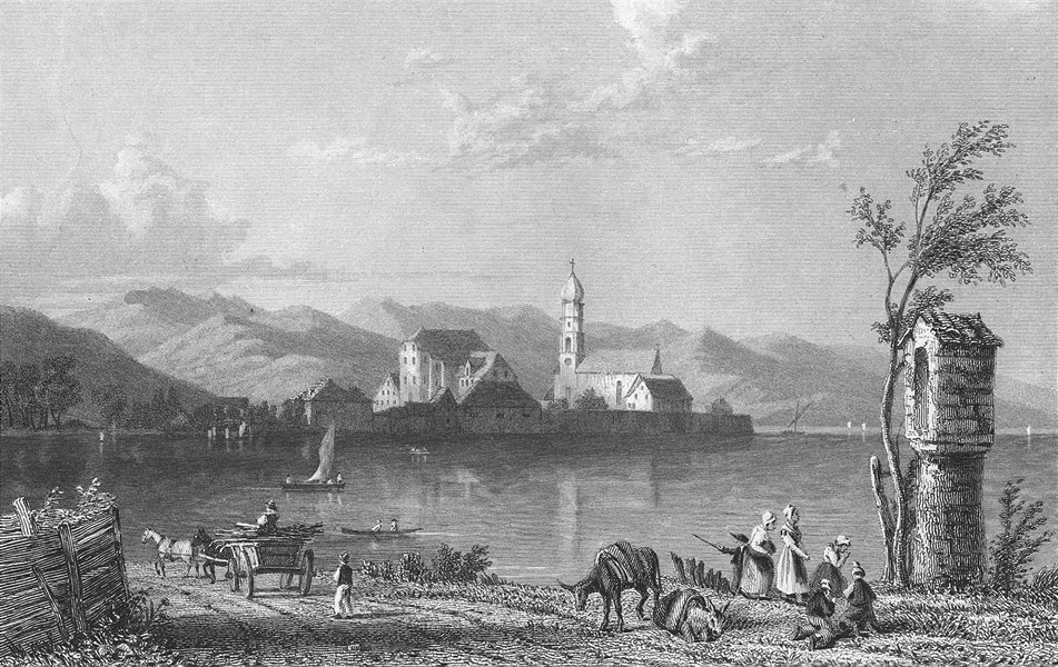 Associate Product GERMANY. Wasserburg, lake Constance. Horse 1830 old antique print picture