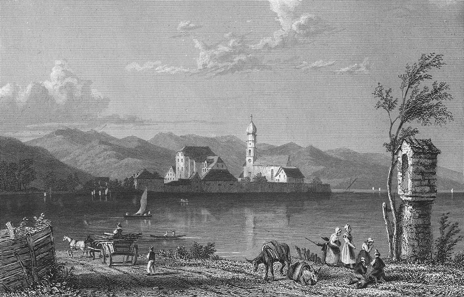 GERMANY. Wasserburg, lake Constance. Horse 1830 old antique print picture