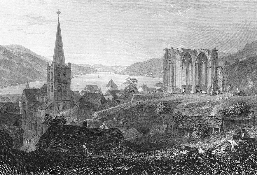Associate Product GERMANY. Bacharach & St Werner's Chapel. Tombleson 1830 old antique print