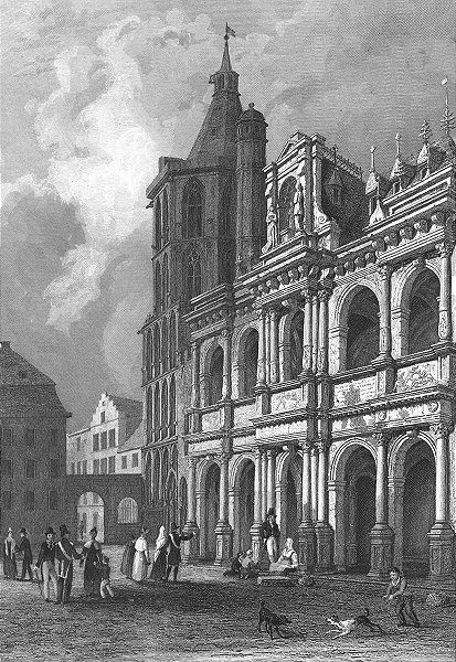 GERMANY. Town Hall Cologne. Tombleson 1830 old antique vintage print picture