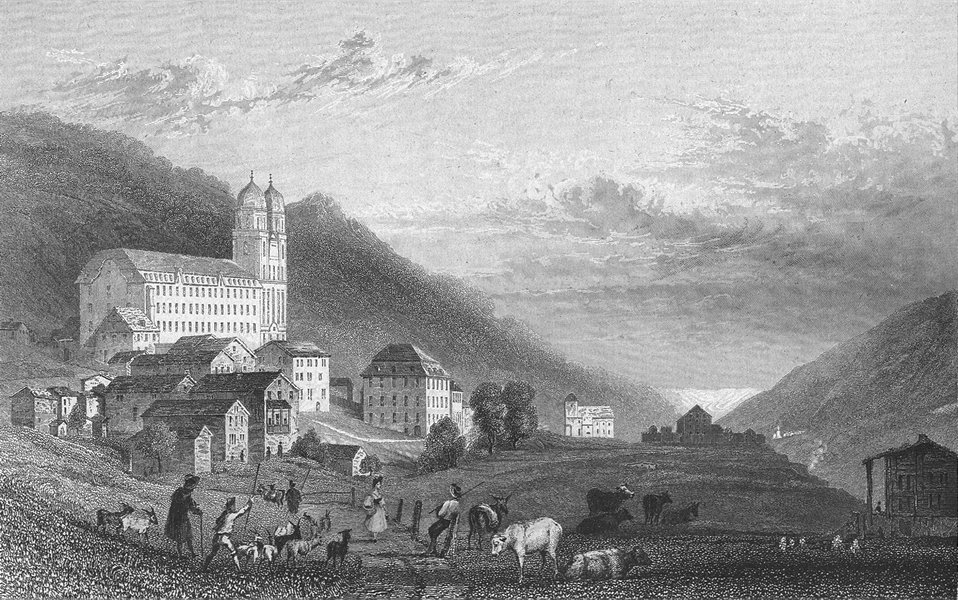Associate Product GERMANY. Convent of Disentis. Tombleson cows 1830 old antique print picture