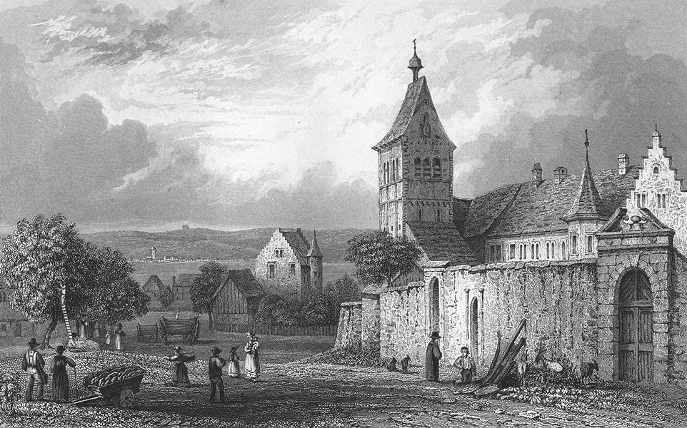 GERMANY. Convent of Reuchenau. Tombleson Carts 1830 old antique print picture
