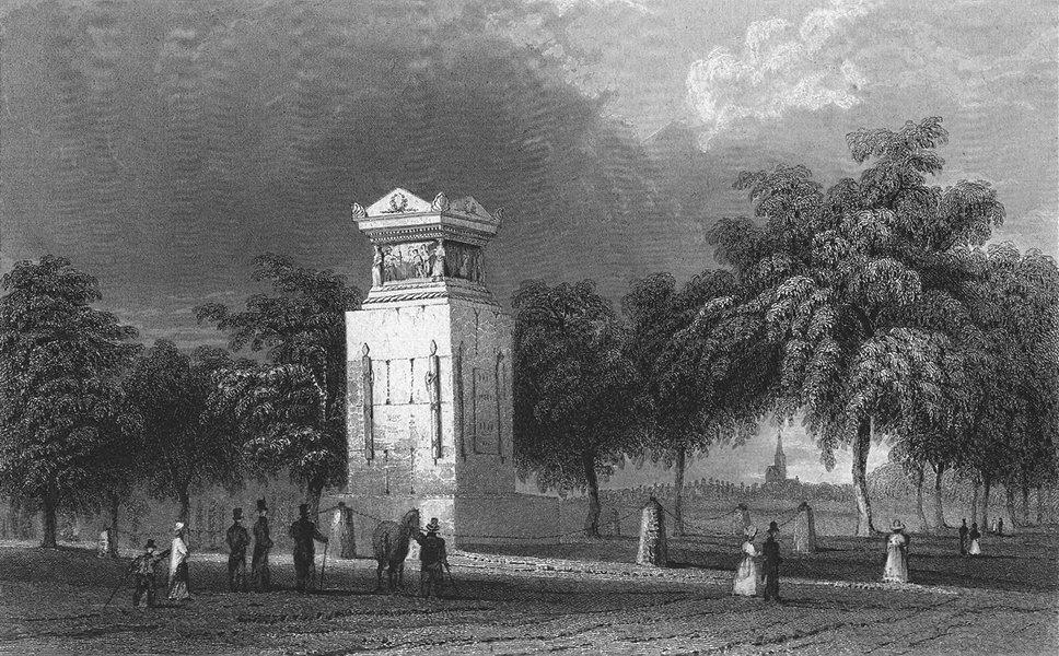 Associate Product STRASBOURG. Mont Gen Desaix. Germany monument. Horse 1830 old antique print