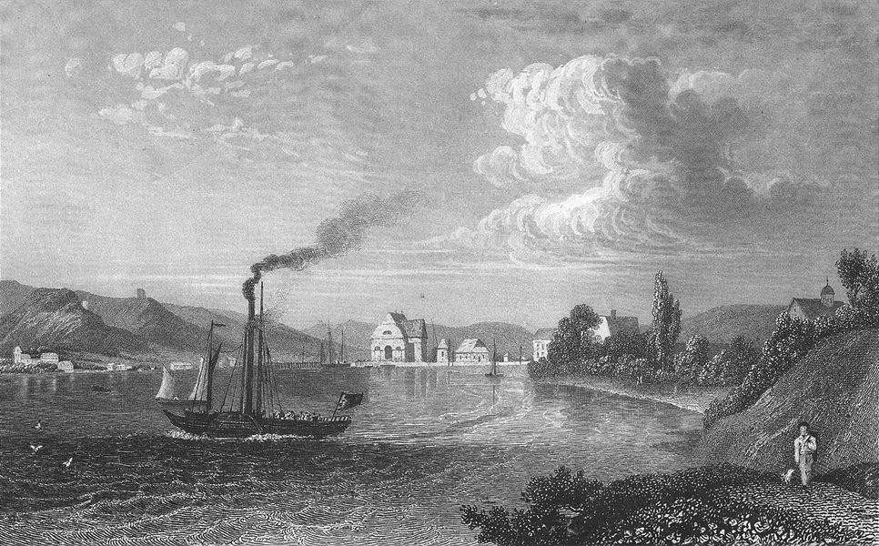 Associate Product GERMANY. Ludwigshafen, lake Constance. Steam Boat 1830 old antique print