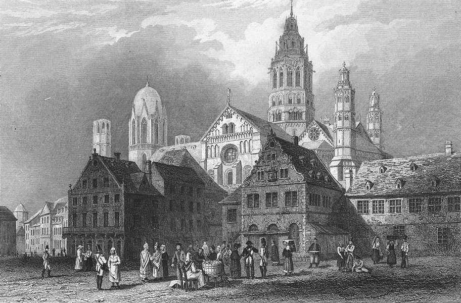 Associate Product GERMANY. Mainz cathedral. Tombleson 1830 old antique vintage print picture