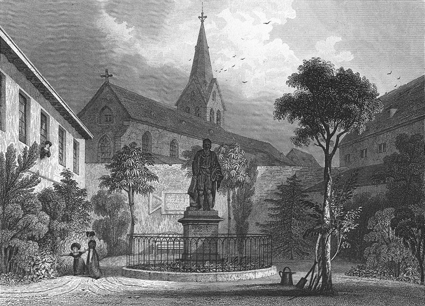 Associate Product GERMANY. Guttenberg's monument, Mainz. Tombleson 1830 old antique print