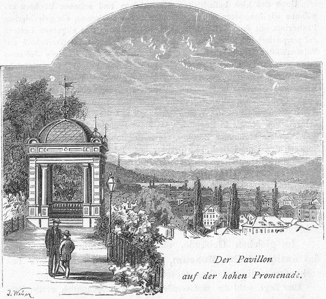 Associate Product ZURICH. Pavillon hohen Promenade. Weber 1879 old antique vintage print picture