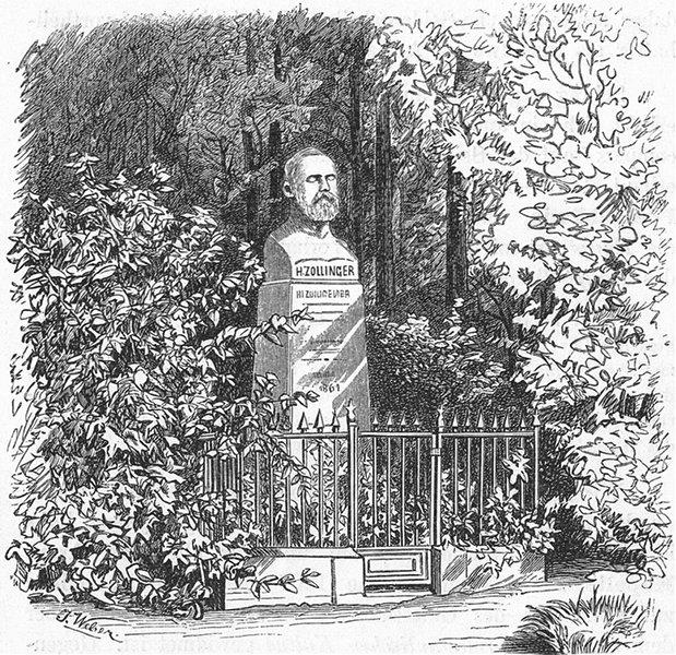 Associate Product ZURICH. Zollinger-Denkmal in botanischen Garten 1879 old antique print picture