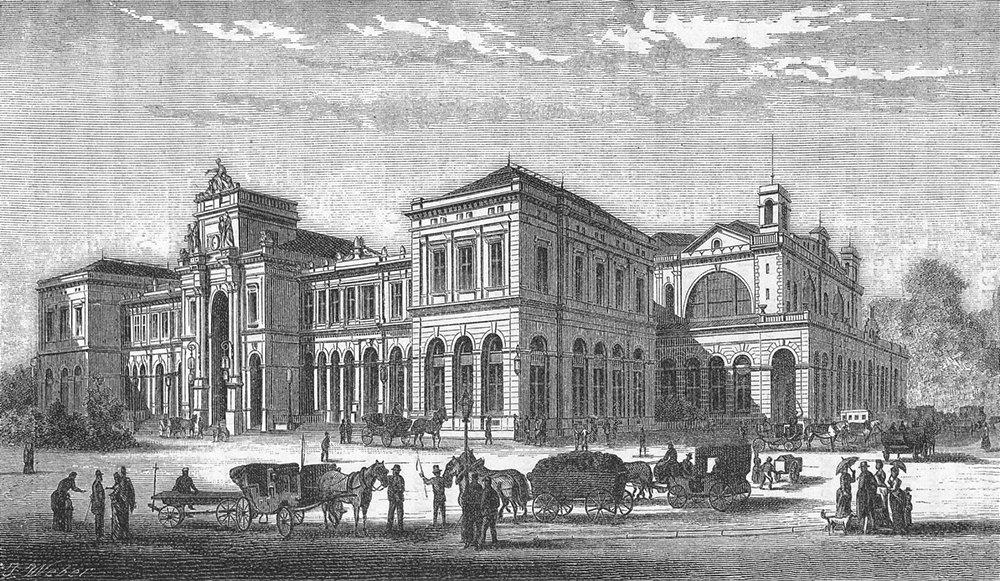 Associate Product ZURICH. Bahnhof. Weber 1879 old antique vintage print picture