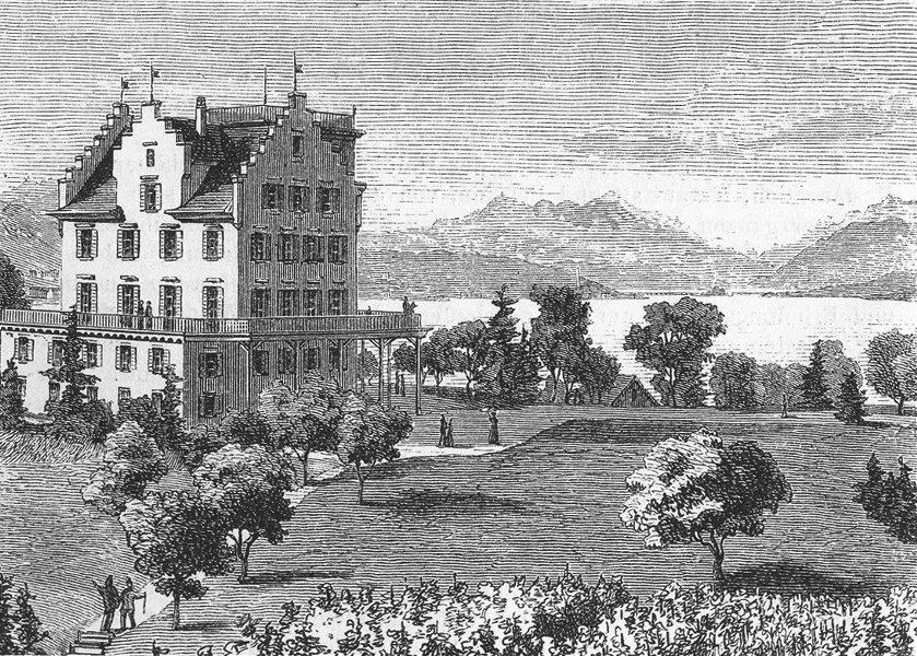 ZURICH. Die Au. Weber 1879 old antique vintage print picture