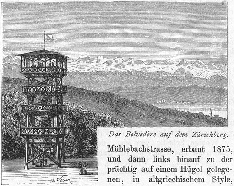 Associate Product ZURICH. Belvedere dem Zurichberg. Weber 1879 old antique vintage print picture
