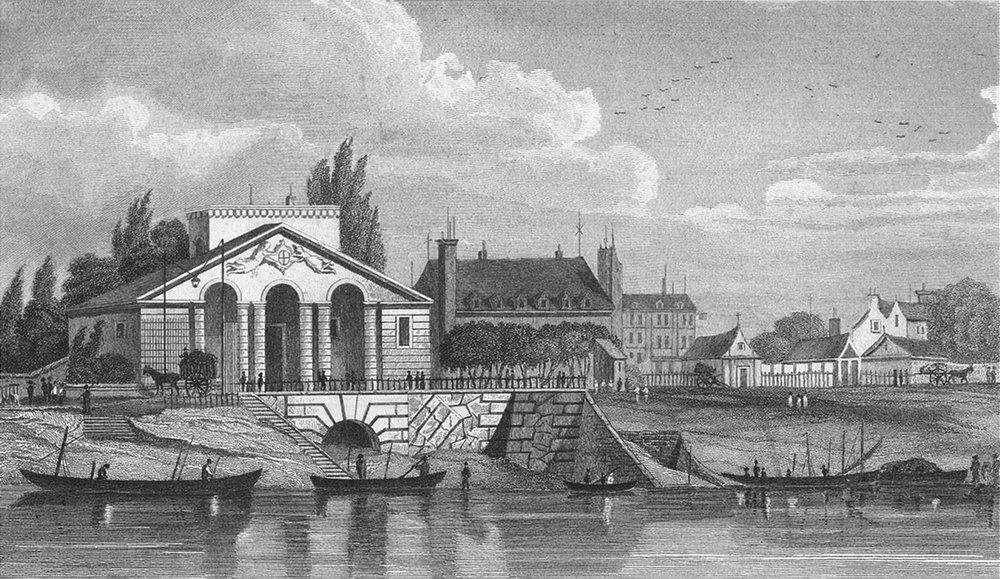 Associate Product PARIS. Barriere de Cunette. Pugin river boats 1828 old antique print picture