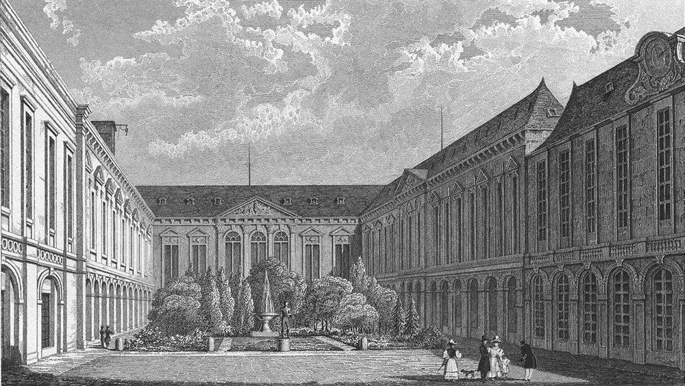 Associate Product PARIS. Bibliotheque Royale. Pugin Fountain Statue 1828 old antique print
