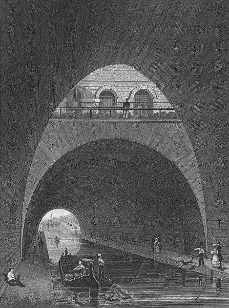 PARIS. Canal L'ourcq(Fontaine L'elephant). barrel 1828 old antique print