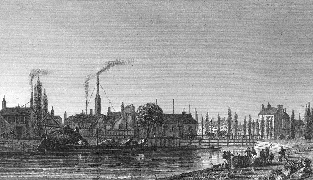 Associate Product PARIS. Canal L'ourcq. boat barrel Dog Horse 1834 old antique print picture