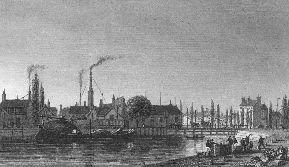 Associate Product PARIS. Canal L'ourcq. Barge Boat dog Horse 1828 old antique print picture