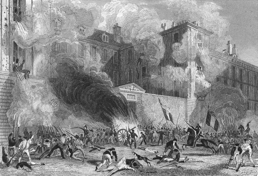 Associate Product PARIS. Caserne Suisse, Rue Babylone, 1830. Battle 1834 old antique print