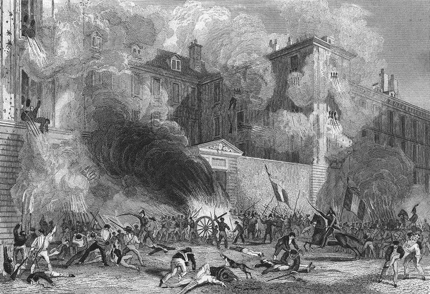 Associate Product PARIS. Caserne Suisse, Rue Babylone, 1830. Battle 1828 old antique print