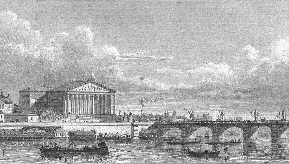 Associate Product PARIS. Chambre Députés Pont Louis XVI. boat bridge 1828 old antique print