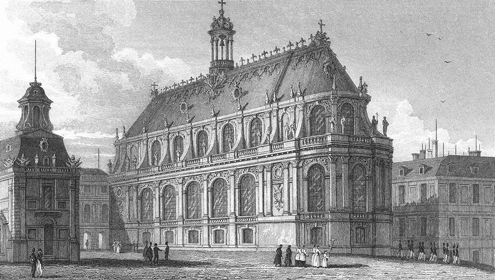 Associate Product VERSAILLES. Chapelle Palais. Paris Military parade 1828 old antique print
