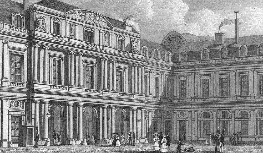 Associate Product PARIS. Palais duc D'orleans(Cour). (Prise) 1828 old antique print picture