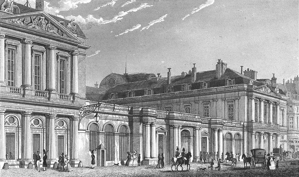 PARIS. Palais Royal, St front. France. Pugin Dogs 1834 old antique print