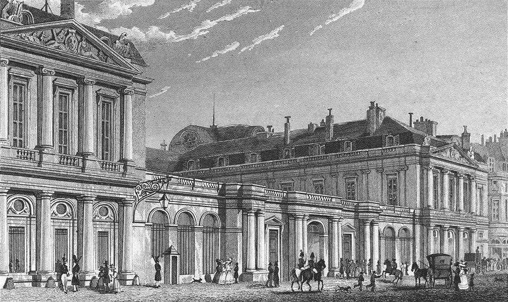 Associate Product PARIS. Palais Royal, St front. France. Pugin Dogs 1828 old antique print