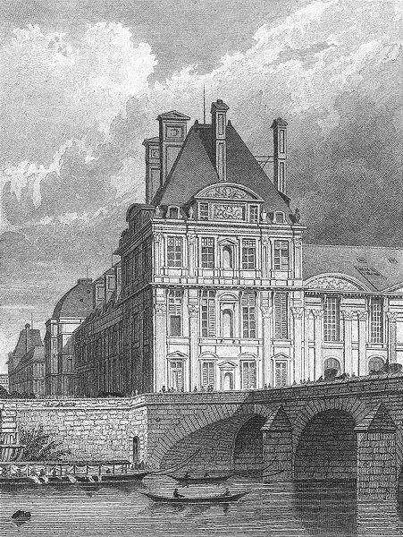 Associate Product PARIS. Pavillon Flore Pont Royal. France. bridge 1828 old antique print