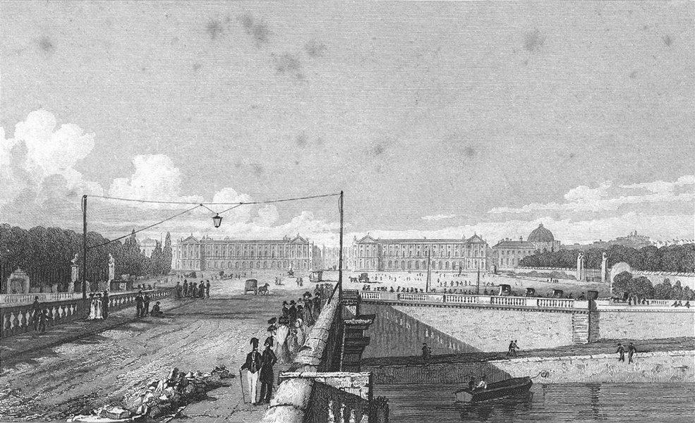 Associate Product PARIS. Place de Louis XV, bridge. France. Pugin Seine 1828 old antique print