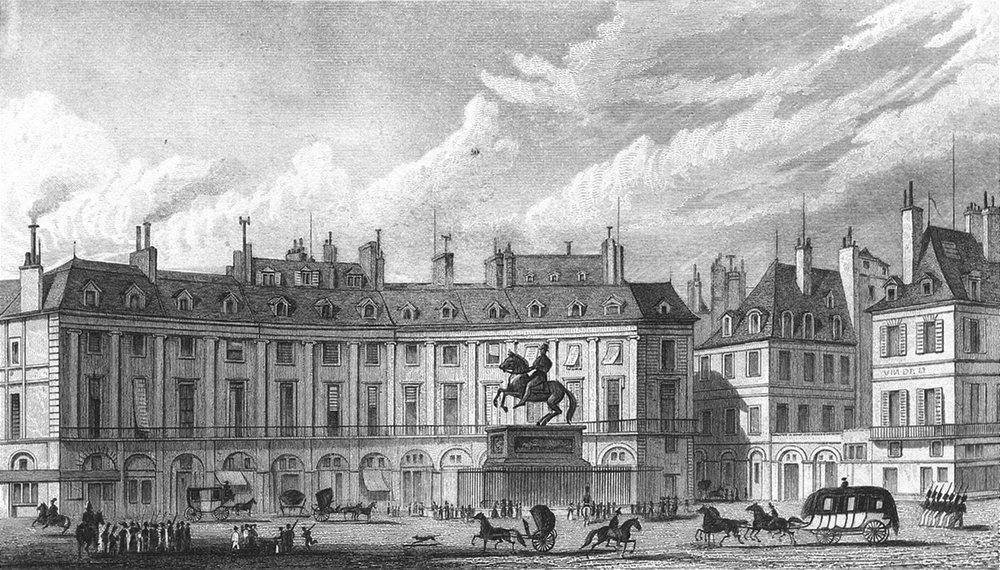 Associate Product PARIS. Place Victoires. Pugin Carriages Statue 1828 old antique print picture