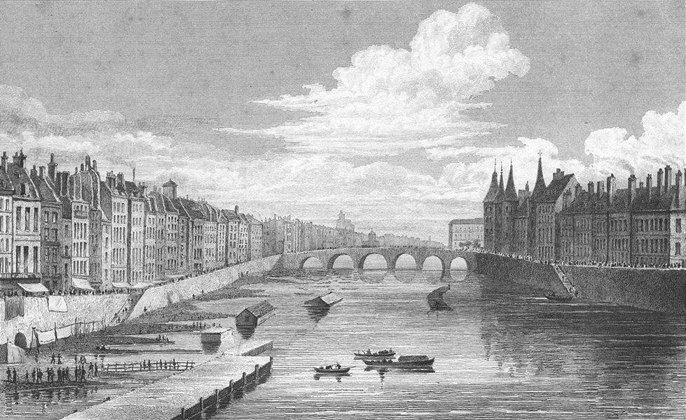 Associate Product PARIS. Pont Chance. Change river bridge boat 1828 old antique print picture