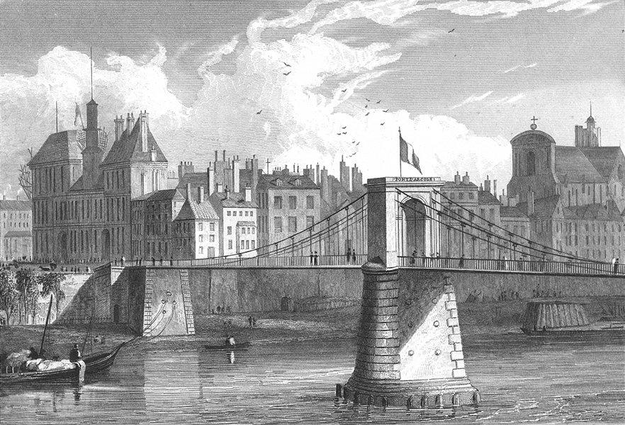 Associate Product PARIS. Pont D'arcole. river boat bridge Flag 1834 old antique print picture