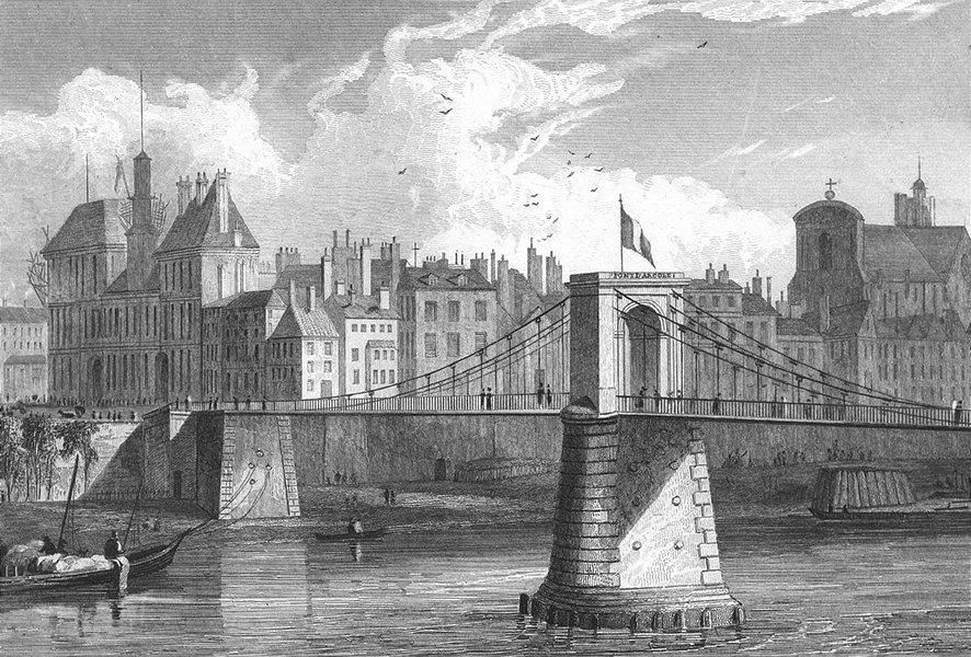 Associate Product PARIS. Pont D'arcole. river boat bridge Flag 1828 old antique print picture
